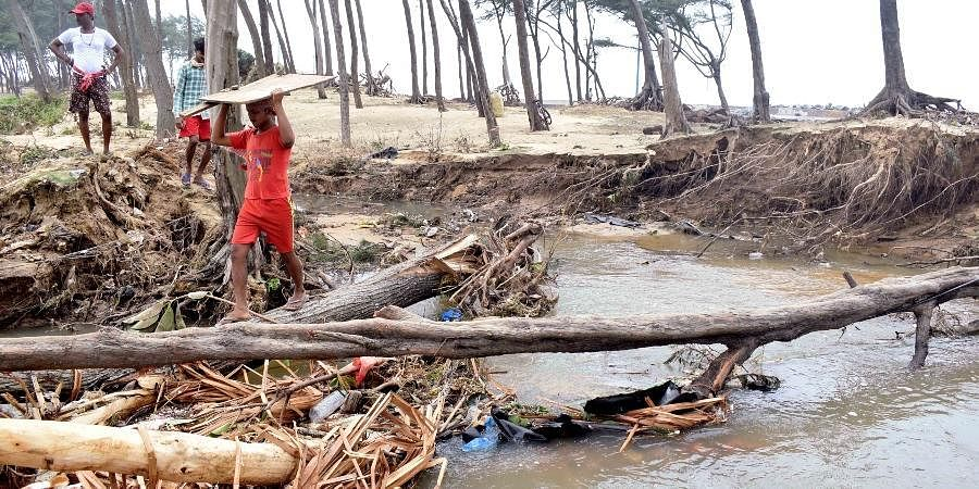 People try to cross through uprooted trees due to the impact of cyclone Yaas near the Digha sea beach, in East Medinipur on Thursday