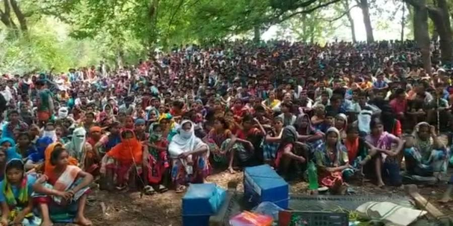 Villagers gather to protest the setting up of a CRPF camp in Silger in Chhattisgarh's south Bastar on Sunday