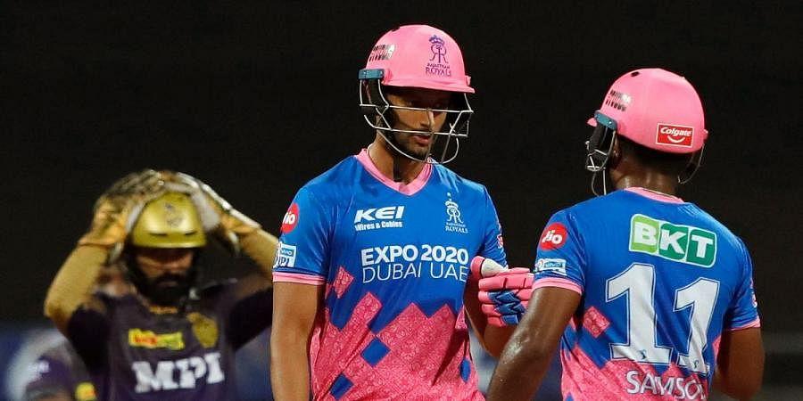 Sanju Samson and Shivam Dube of Rajasthan Royals chat during their IPL 2021 match vs Kolkata Knight Riders in Mumbai