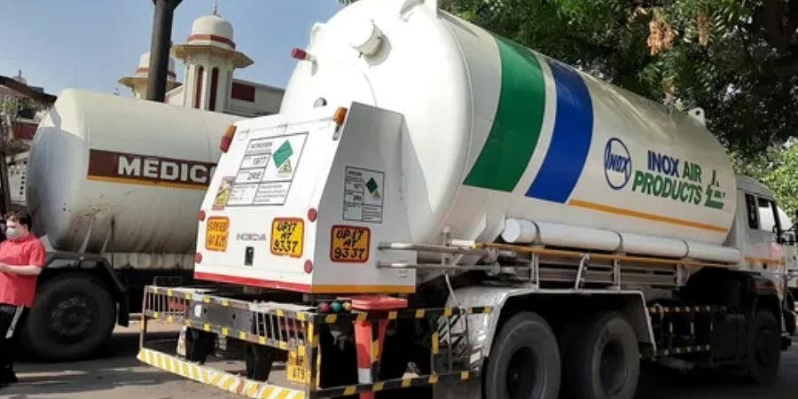 Officials said the Delhi government has to arrange road tankers to move the oxygen to hospitals.
