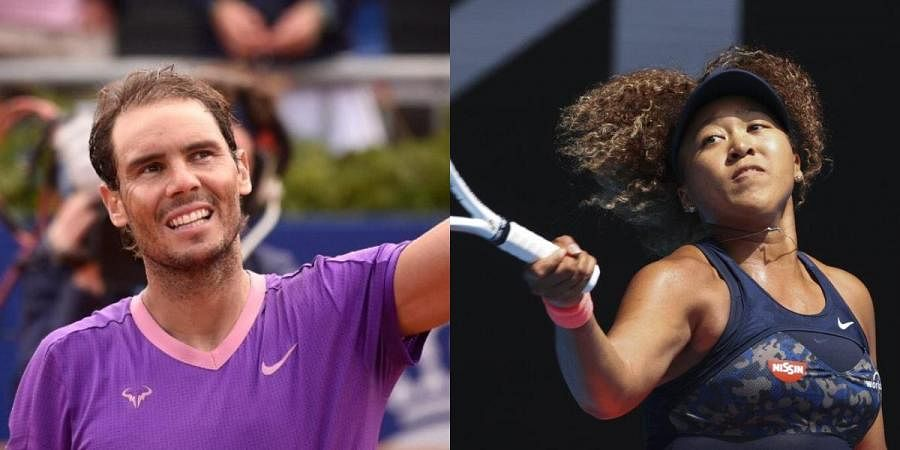 Tennis legends Rafael Nadal (L) and Naomi Osaka