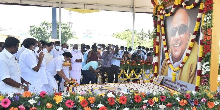 Tamil Nadu CM paying tributes to his late father and DMK patriarch M Karunanidhi on Friday. (Photo   P Jawahar, EPS)