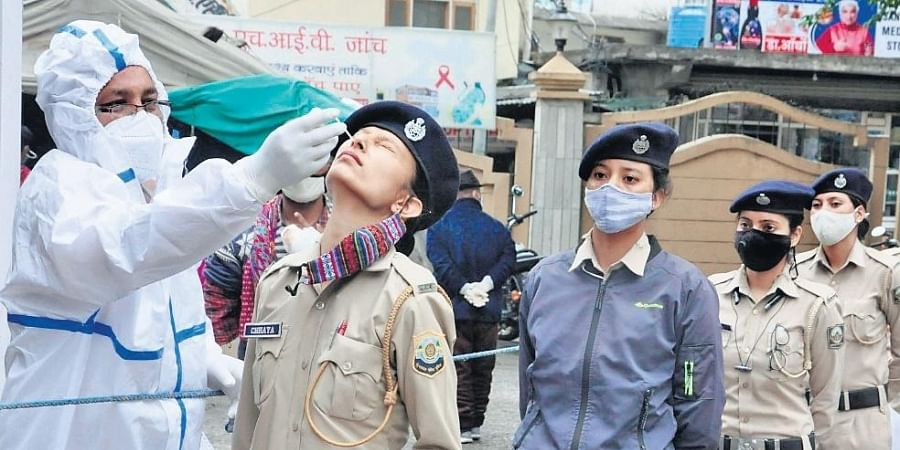 A health worker takes samples from police personnel in Kullu on Friday.