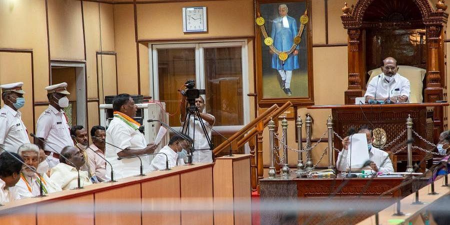 Puducherry CM VNarayanasamy speaks during the special Assembly session. (Photo | G Pattabiraman, EPS)