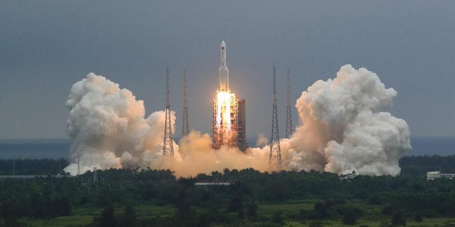 Long March 5B rocket carrying a module for a Chinese space station lifts off from the Wenchang Spacecraft Launch Site