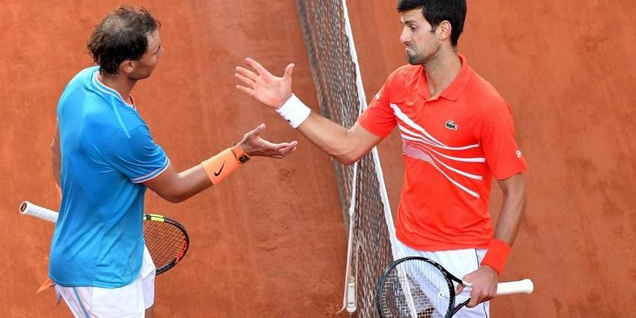 Rafael Nadal and Novak Djokovic will play against each other in the men's singles final tennis match of The Roland Garros 2020 French Open tennis tournament. (Photo | AFP)