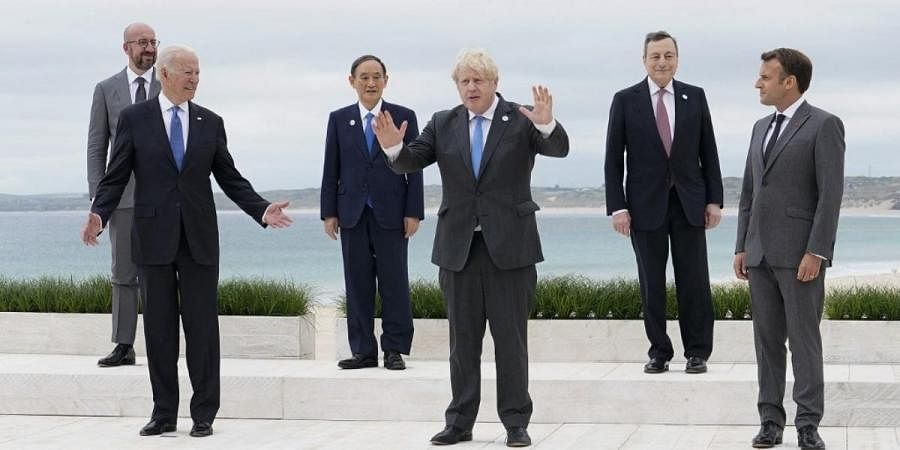 Various world leaders pose for the family photo at the start of the G7 summit in Carbis Bay, Cornwall