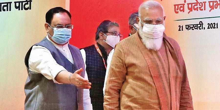 BJP president JP Nadda (L) andPMNarendra Modi at NDMC Convention Centre for the meeting on Sunday.