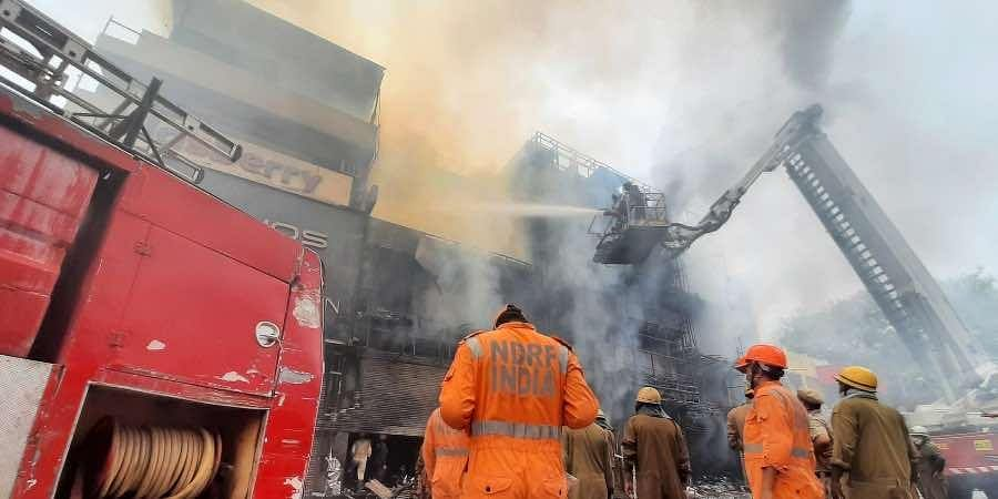 Fire officials trying to control fire at Central Market in Lajpat Nagar