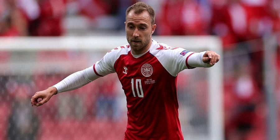 Denmark midfielderChristian Eriksen controls the ball during the Euro 2020 championship group B match between Denmark and Finland at Parken stadium in Copenhagen.