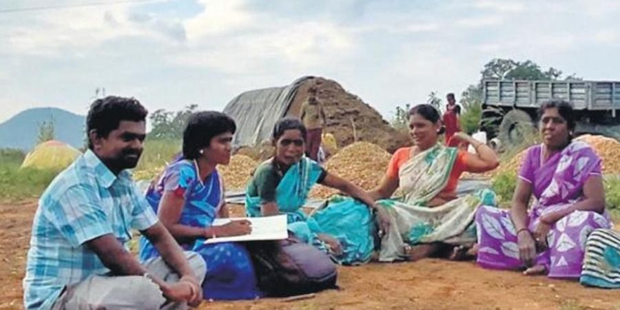 T Pareshamma educating farmers and children on water conservation, in Thamballapalle. (Photo   Express)