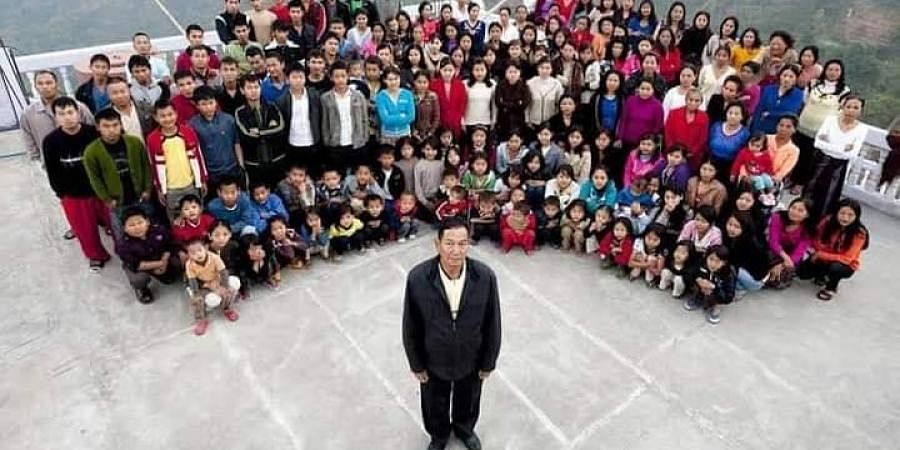 Ziona Chana of Mizoram, who headed the world's largest family with 39 wives and 94 children