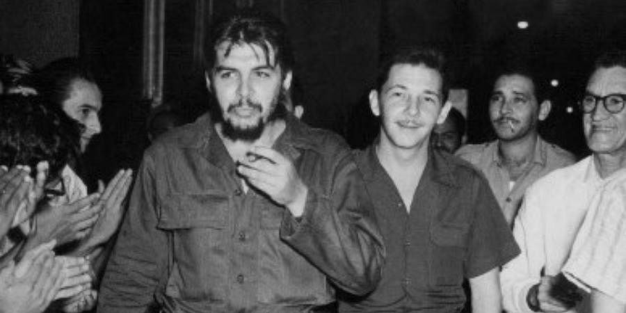 Photograph taken in the early 60's of Commander Raul Castro (R) and Commander Ernesto 'Che' Guevara in Havana.