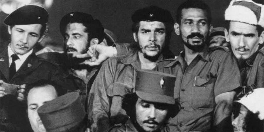 A 1959 photograph showing Commanders (L to R) Raul Castro, Antonio Nunez Jimenez, Ernesto 'Che' Guevara, Juan Almeida and Ramiro Valdes in Havana during the first year of the Cuban revolution.
