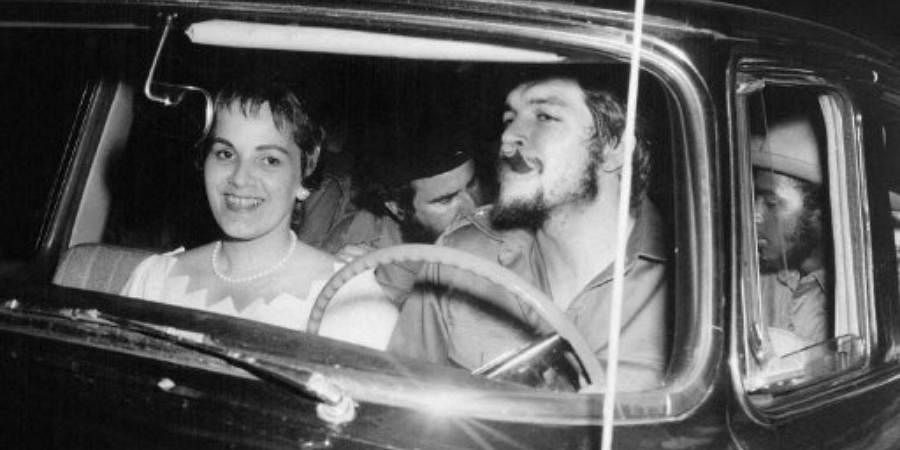 This 02 June 1959 file photo shows Argentine-born Cuban revolutionary Ernesto 'Che' Guevara(R) at the wheel of a US-made car with his second wife Aleida March(L) on their wedding day in Havana a few months after he helped Fidel Castro overthrow the regime of dictator Fulgencio Bartista.