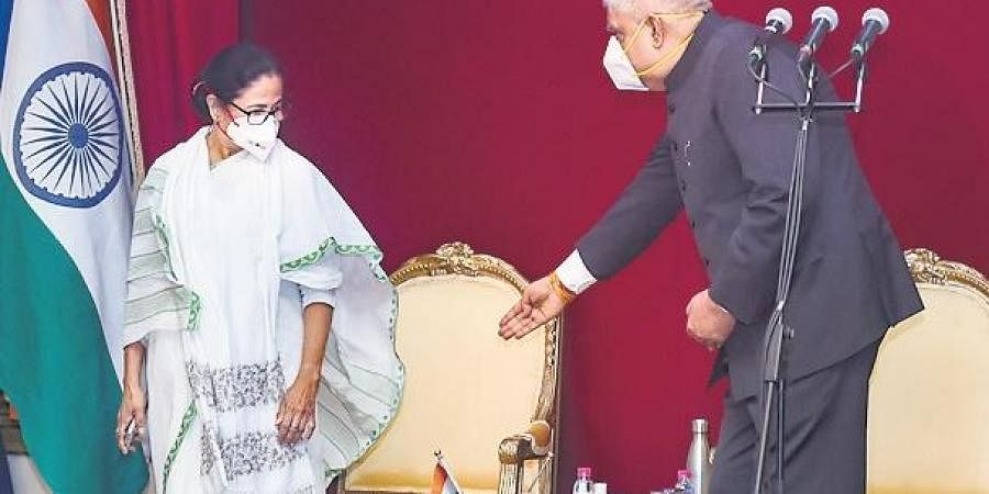 West Bengal Chief Minister Mamata Banerjee and Governor Jagdeep Dhankar during swearing-in ceremony of new minister of the State.