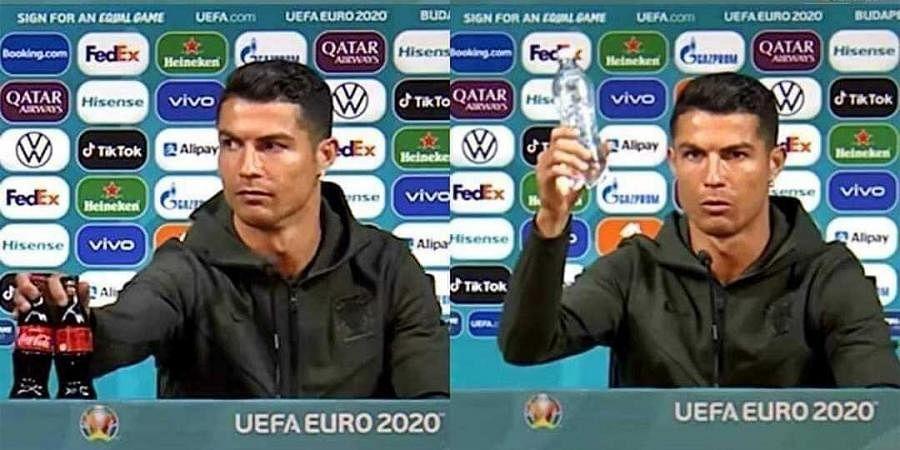Cristiano Ronaldo at a press conference ahead of Euro 2020 match.