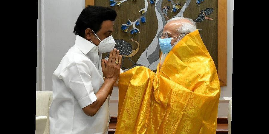 Tamil Nadu CM MK Stalin with PM Modi (Photo | Special arrangement)