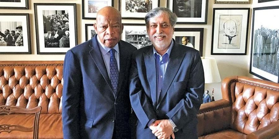 Director Ramesh Sharma (R) with civil rights icon and former member of the US House of Representatives John Lewis