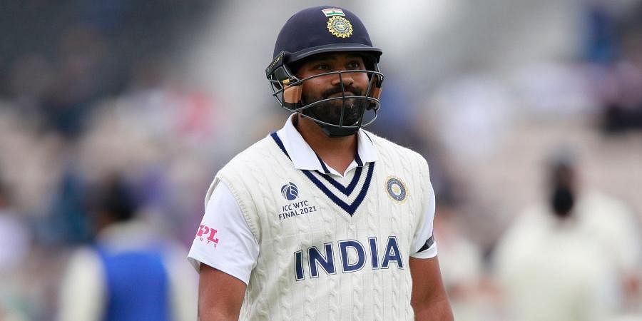 India's Rohit Sharma reacts as he walks off the field after being dismissed by New Zealand's Kyle Jamieson during the second day of the WTCfinal at the Rose Bowl in Southampton.