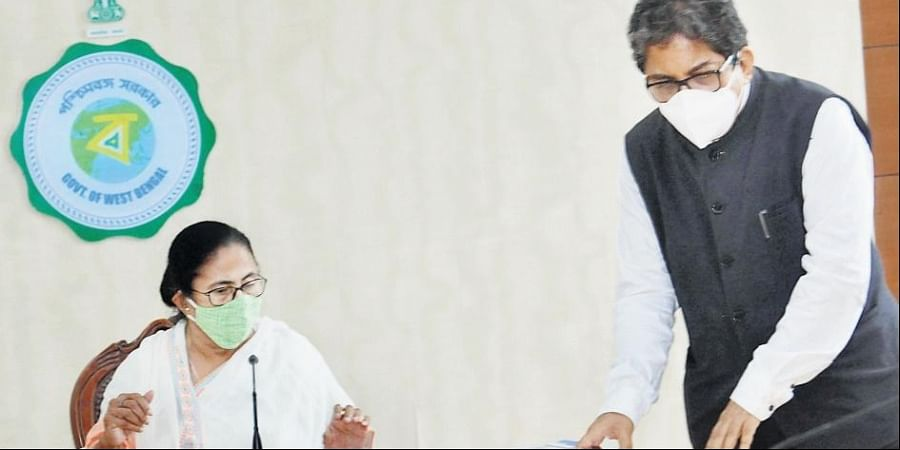 West Bengal Chief Minister Mamata Banerjee with her chief advisor Alapan Bandopadhyay during a meeting in Kolkata.