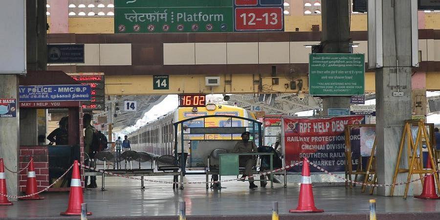 Entrance of Chennai Central suburban station during the lockdown in Chennai. (Photo   Sunish P Surendran)