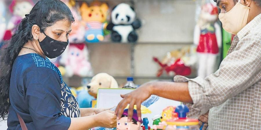 Business at a toy shop during lockdown relaxation in Mumbai