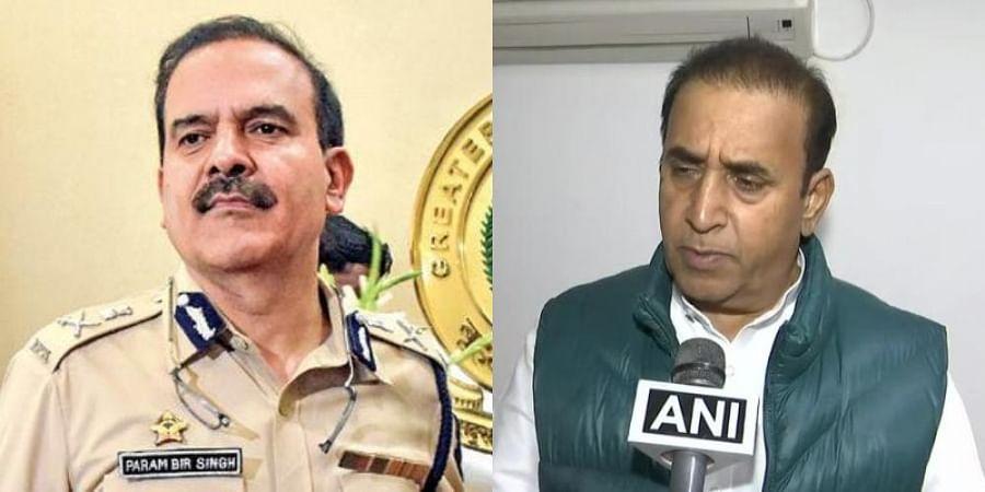 Former Mumbai Police chief Parambir Singh (L) and Maharashtra Home Minister Anil Deshmukh