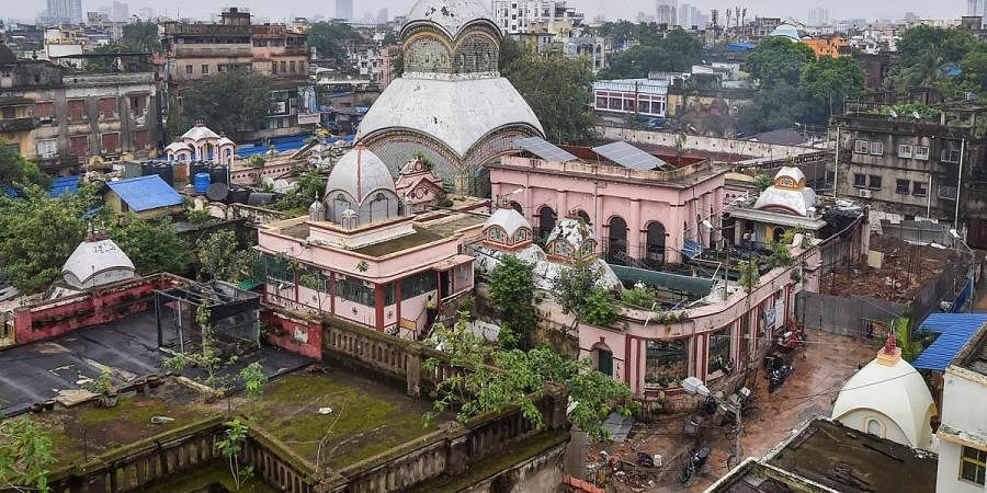 A view of Kalighat Kali temple that reopened after authorities eased some Covid lockdown restrictions in Kolkata. (Photo |PTI)