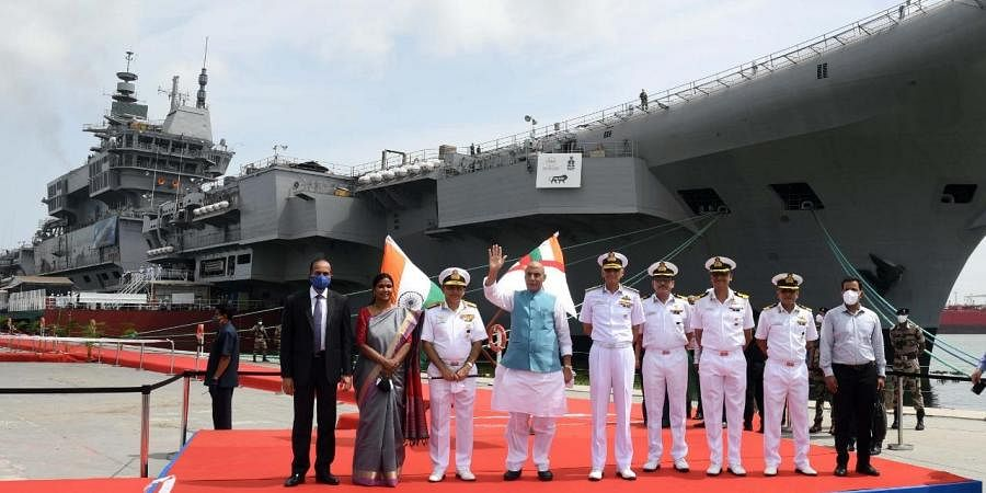 Rajnath Singh reviewing the ongoing work on the Indigenous Aircraft Carrier which is in advanced stages of construction by the Indian Navy. (Photo   Albin Mathew, EPS)