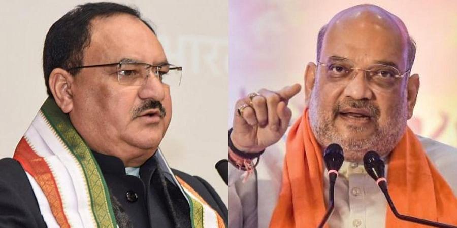 BJP president JP Nadda (L) and Union minister Amit Shah