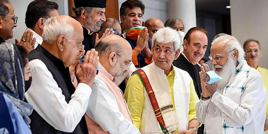 PM Narendra Modi during an all-party meeting with various political leaders from Jammu and Kashmir