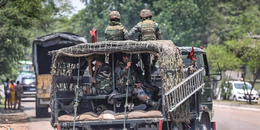 Army personnel on high alertin Jammu, Monday, June 28, 2021.