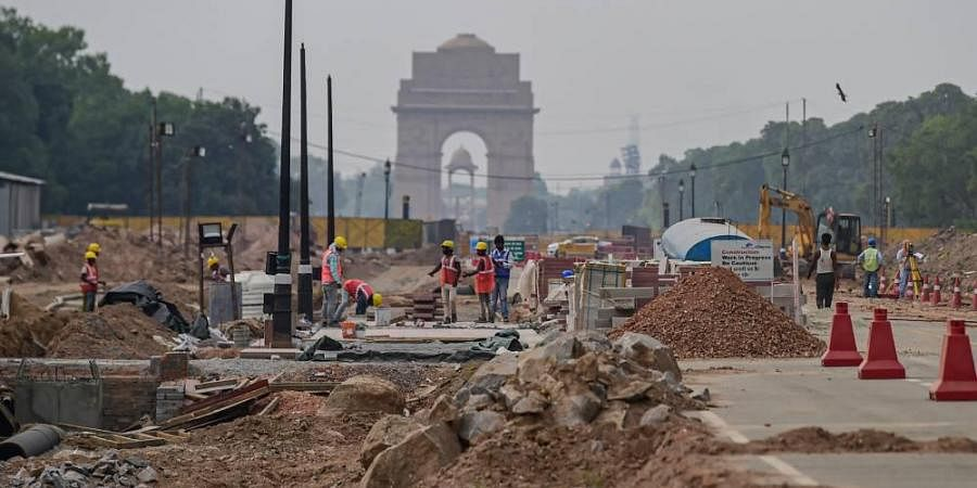Construction work underway as part of the Central Vista Redevelopment Project, at Rajpath in New Delhi.