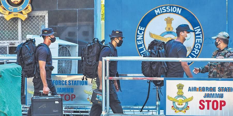 Special forces arrive at Jammu Air Force Station on June 27 after the twin blasts.