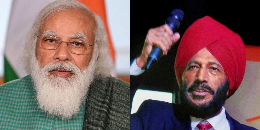 PM Narendra Modi (L) and legendary sprinter Milkha Singh