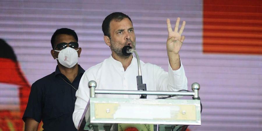 Congress leader Rahul Gandhi speaks during an election campaign in Chennai. (Photo | Debadatta Mallick, EPS)
