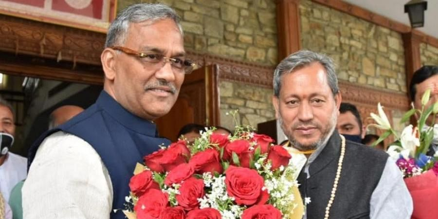 Former Uttarakhand CM Trivendra Singh Rawat meets incumbent Tirath Singh Rawat