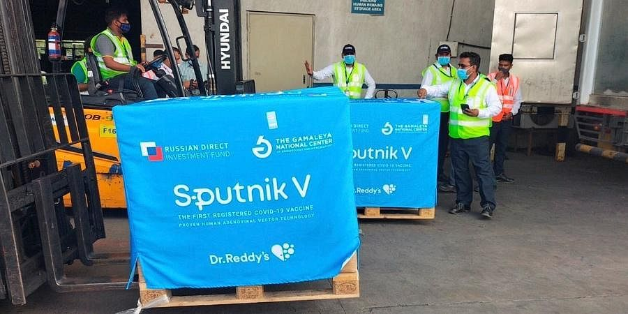 The second consignment of COVID-19 vaccine Sputnik V arrives at Rajiv Gandhi International Airport in Hyderabad,