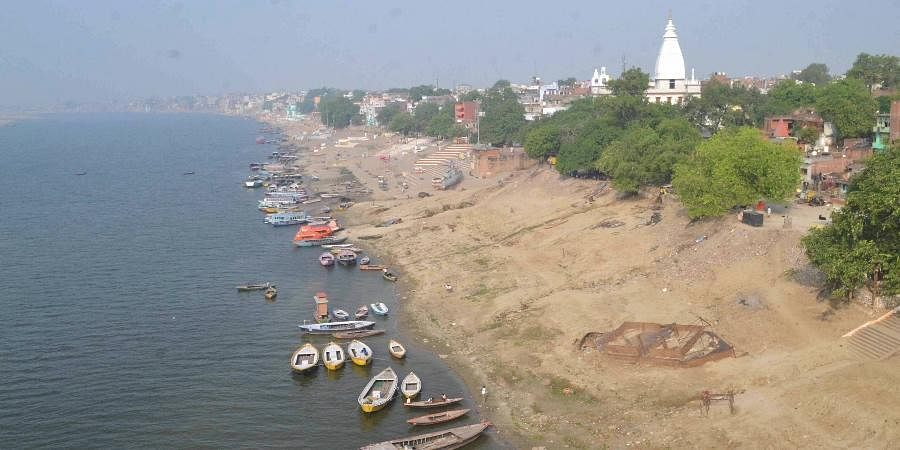 A fleet of boats stand parked along a deserted bank of River Ganga during the nationwide lockdown to curb the spread of Coronavirus in Varanasi