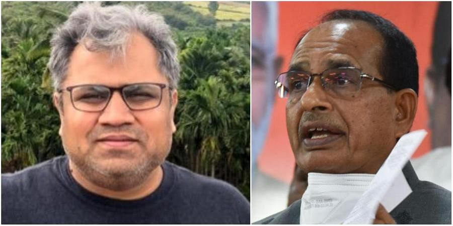 Poll and communication strategist Tushar Panchal (L) and Madhya Pradesh CM Shivraj Singh Chouhan