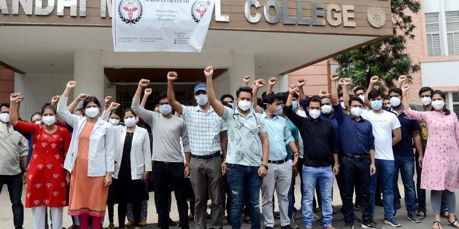 Junior doctors demonstrate during their indefinite strike for the fulfillment of demands in Bhopal