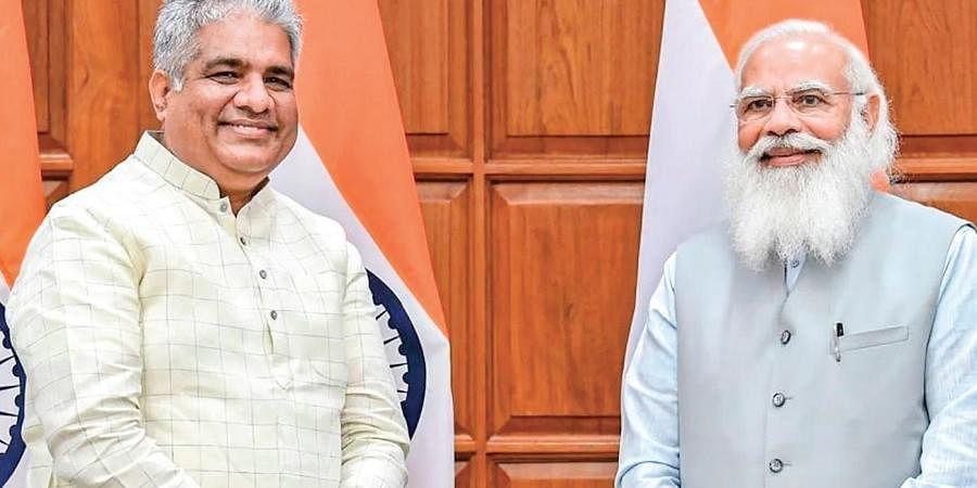 New Environment Minister Bhupender Yadav with Prime Minister Narendra Modi