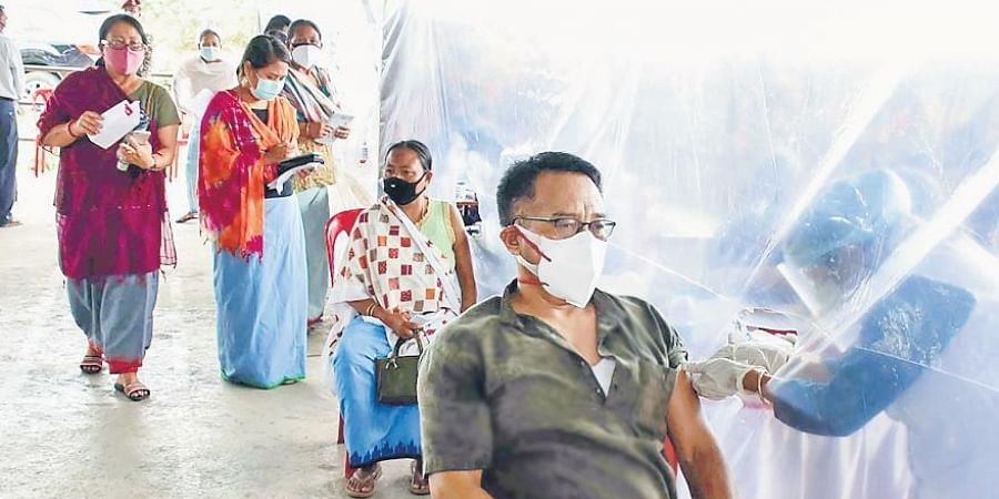 Vaccination in progress at a camp in Manipur's Imphal East district.