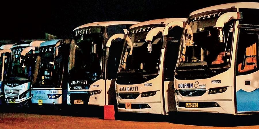 APSRTC buses ready to leave for Hyderabad, in Vijayawada