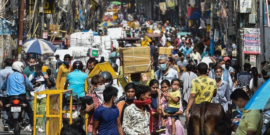 Crowd at Sadar Bazar market after authorities eased COVID-induced restrictions, in New Delhi.