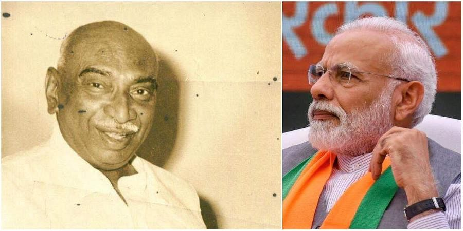 Former Tamil Nadu CM K Kamaraj (L) and PM Narendra Modi