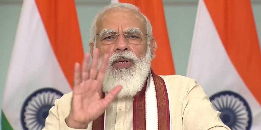 PM Modi speaks while attending the Griha Pravesham program being held in Madhya Pradesh.