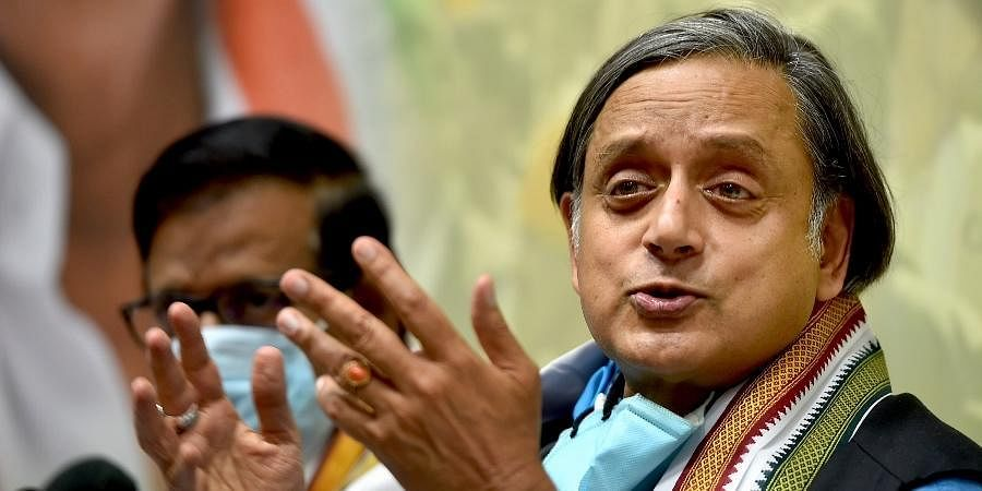 Congress MP Shashi Tharoor addresses a press conference