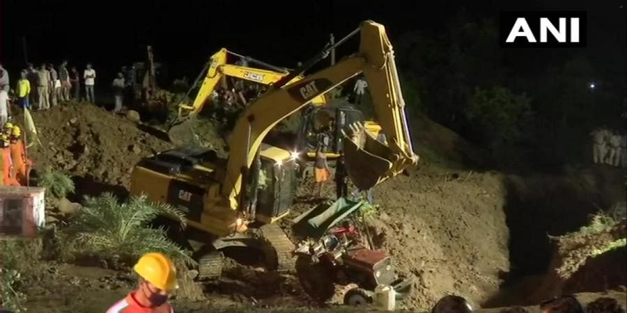 Rescue works going on at Ganjbasoda area in Vidisha where at least 15 people fell into a well